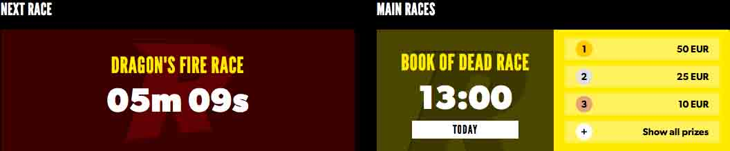 Don't miss Rizk Races if you're short on time and love slots.