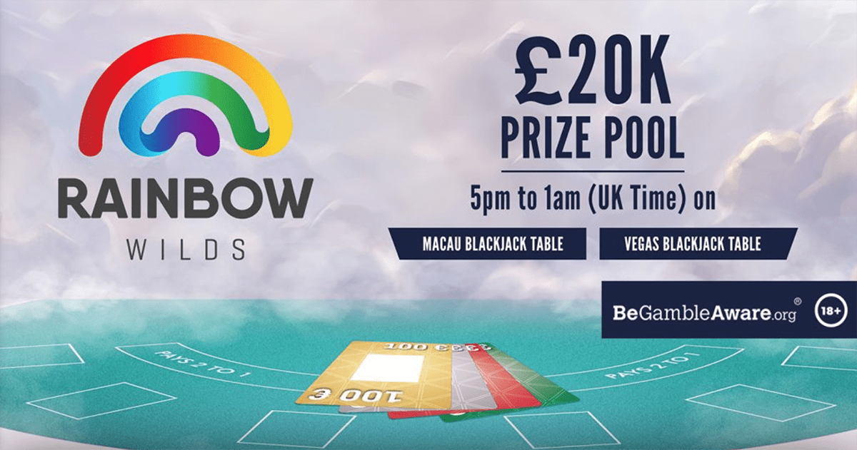 Play live blackjack at Rizk Casino and get a rainbow card, win the amount on it!