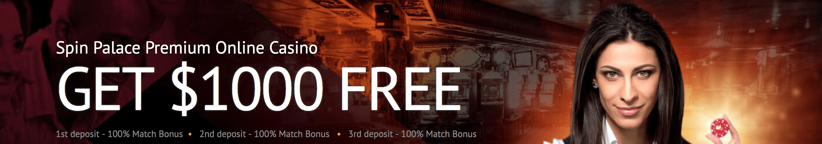 Spin Casino tiered deposit bonus, up to $1000 for new players.